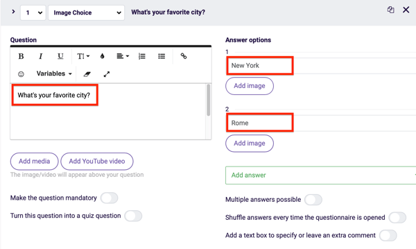 Survey Anyplace question and answer settings for a question in your questionnaire.