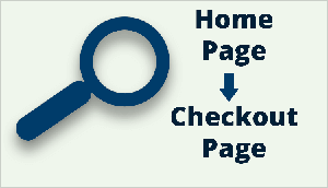"This is an illustration that highlights how Tanner Larsson analyzes the customer journey on a website. The illustration has a light green background. A dark blue magnifying glass icon appears on the left. On the right, in dark blue text, the text ""Home Page"" appears in the upper right. Then a downward pointing arrow appears. Below the arrow is the text ""Checkout Page""."