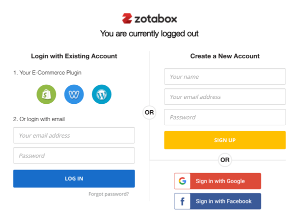 zotabox account sign up or login