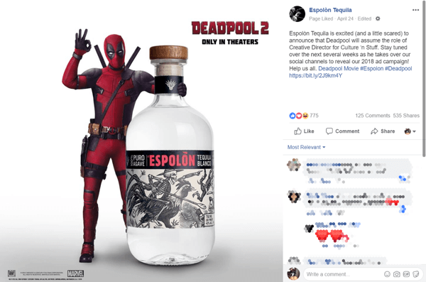 The early buzz from the Deadpool takeover had people talking about and sharing the Espolòn brand.