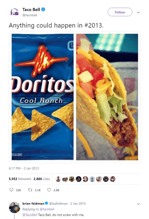 The original teaser tweet for the Doritos Locos Taco.