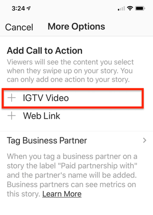 Option to select an IGTV Video Link to add to your Instagram story.