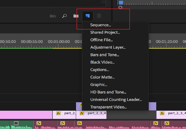 Option to edit a sequence in Adobe Premier Pro.