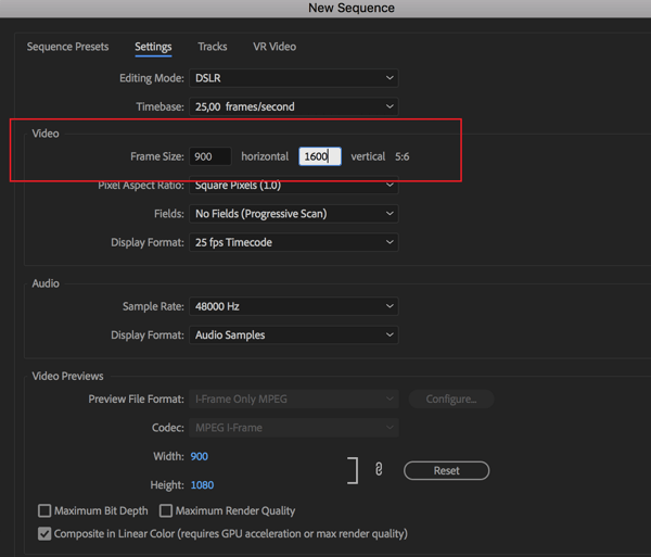 Option to set the frame rate for your sequence in Adobe Premier Pro.