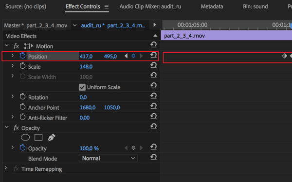 Setting to adjust the center position for each frame in your sequence in Adobe Premier Pro.