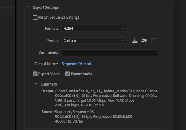 Setting to export your Adobe Premier Pro video with the Format set to H.264.