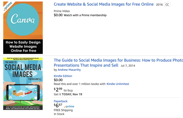 Social Media Images results in Amazon.