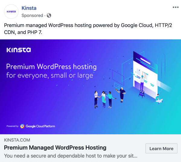 Example of Kinsta ad with specific targeting in place.