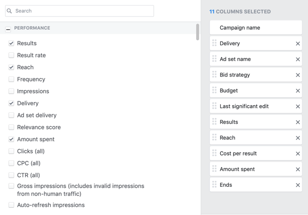 Example of desired core metrics for the reporting column of the reporting creation window in Facebook Ads Manager.