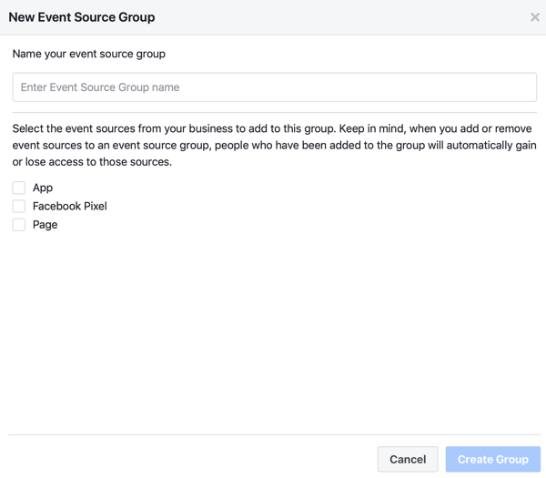 Name and event sources settings for creating a new event source group.