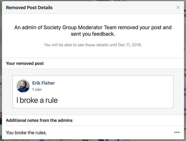 It appears that Facebook Groups is giving admins an option to share the reason why a post was removed to the person who posted it.