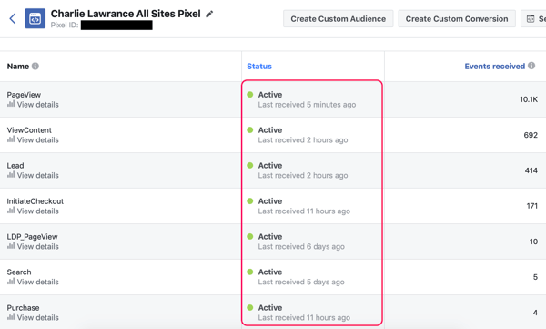 See which Facebook pixel events are firing in the graph view of the pixel dashboard in Facebook Ads Manager.
