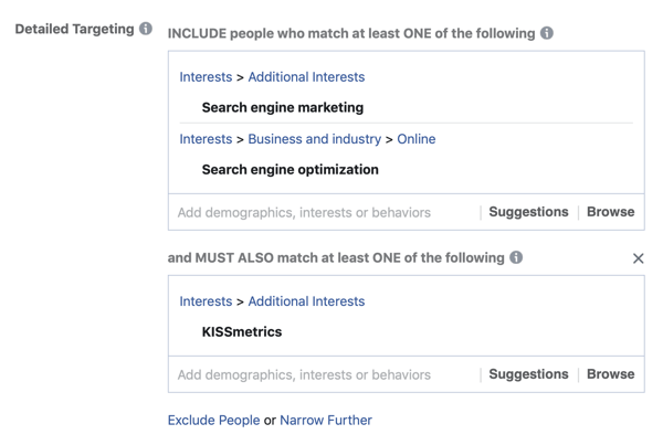 Example of layering your results into your Facebook ads audience interests using the MUST ALSO match field.