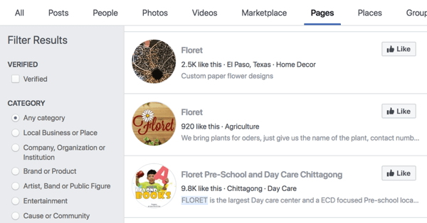 Facebook頁面搜索結果Floret。