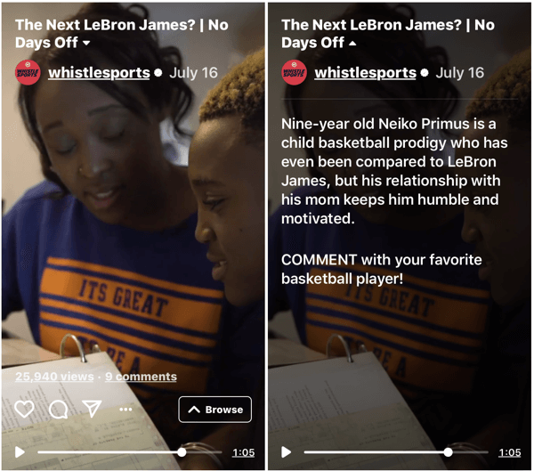 Example of Whistle Sports IGTV series No Days Off.