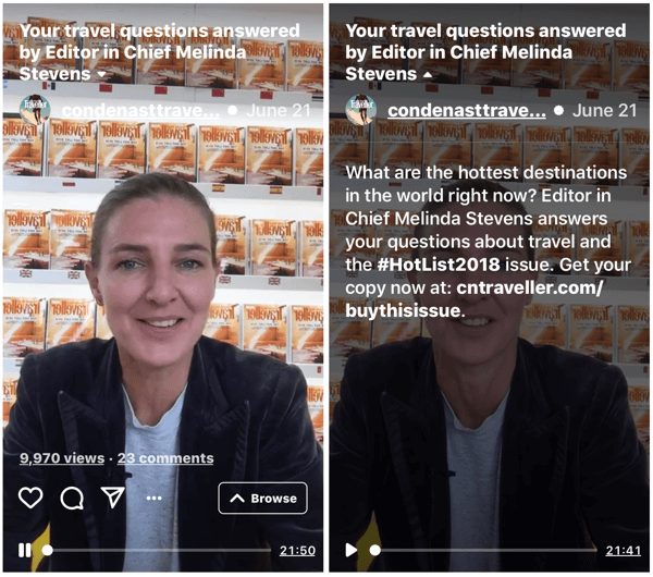 Example of Conde Nast Traveller IGTV video by Editor in Chief Melinda Stevens.