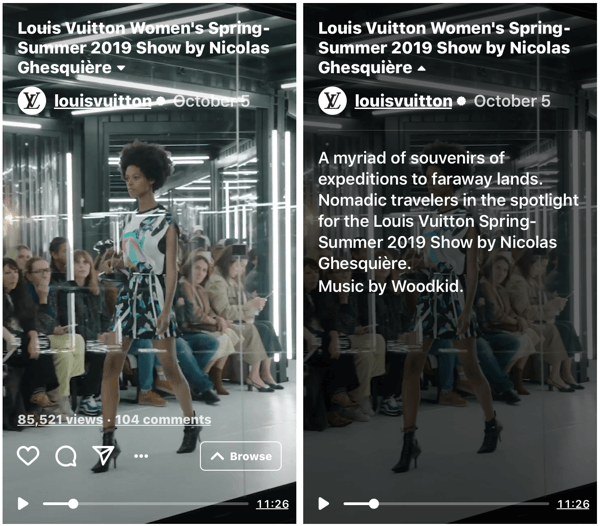 Example of Louis Vuitton's IGTV show for their Women's Spring-Summer 2019 Fashion Show.
