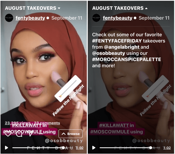 Example of a Fenty Beauty IGTV episode, showing an account takeover, demonstrating product use by a loyal fan.