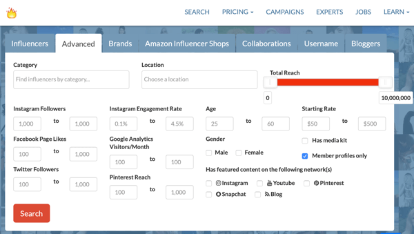 Example of Influence.co's Advanced influencer search screen.