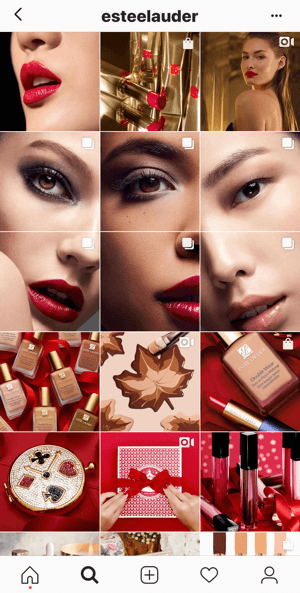 Example of the Estee Lauder Instagram feed showing several split images in their grid.