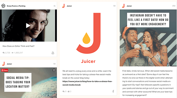 This is a screenshot of an example aggregated social media feed from Juicer. Each post from a different social media platform appears in a box, and boxes from all the feeds are tiled together.