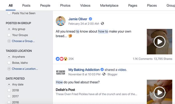 """在Facebook搜索中搜索結果""""how to""""和""""knead""""。"""