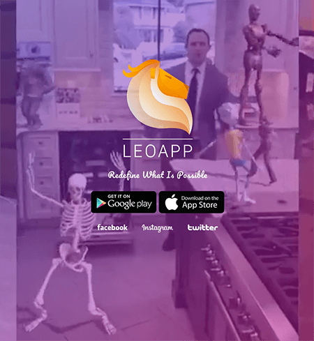 This is a screenshot of the Leo AR app home page. The background has a purple tint and shows a man dancing in his kitchen with an animated skeleton, an animated child in a yellow t-shirt and shorts, and an animated android. In the center is the app name and buttons for finding the app on in Google Play and the App Store.