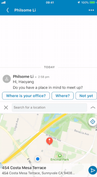 LinkedIn announced a new addition to its messaging functionality which enables users to share their location, or a location nearby, to meet up.