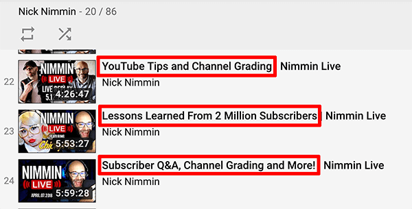 This is a screenshot of YouTube live video titles from the Nick Nimmin channel.
