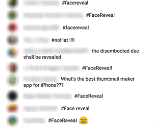 This is a screenshot of the chat feed during Nimmin Live after Nick Nimmin asks viewers to comment with a hashtag in response to something he was talking about on the show. In this case, several viewers comment with the hashtag #facereveal.
