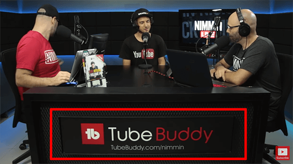 This is a screenshot from a livestream of Nimmin Live with Nick Nimmin. The desk in the livestreaming studio shows that TubeBuddy sponsors the show.