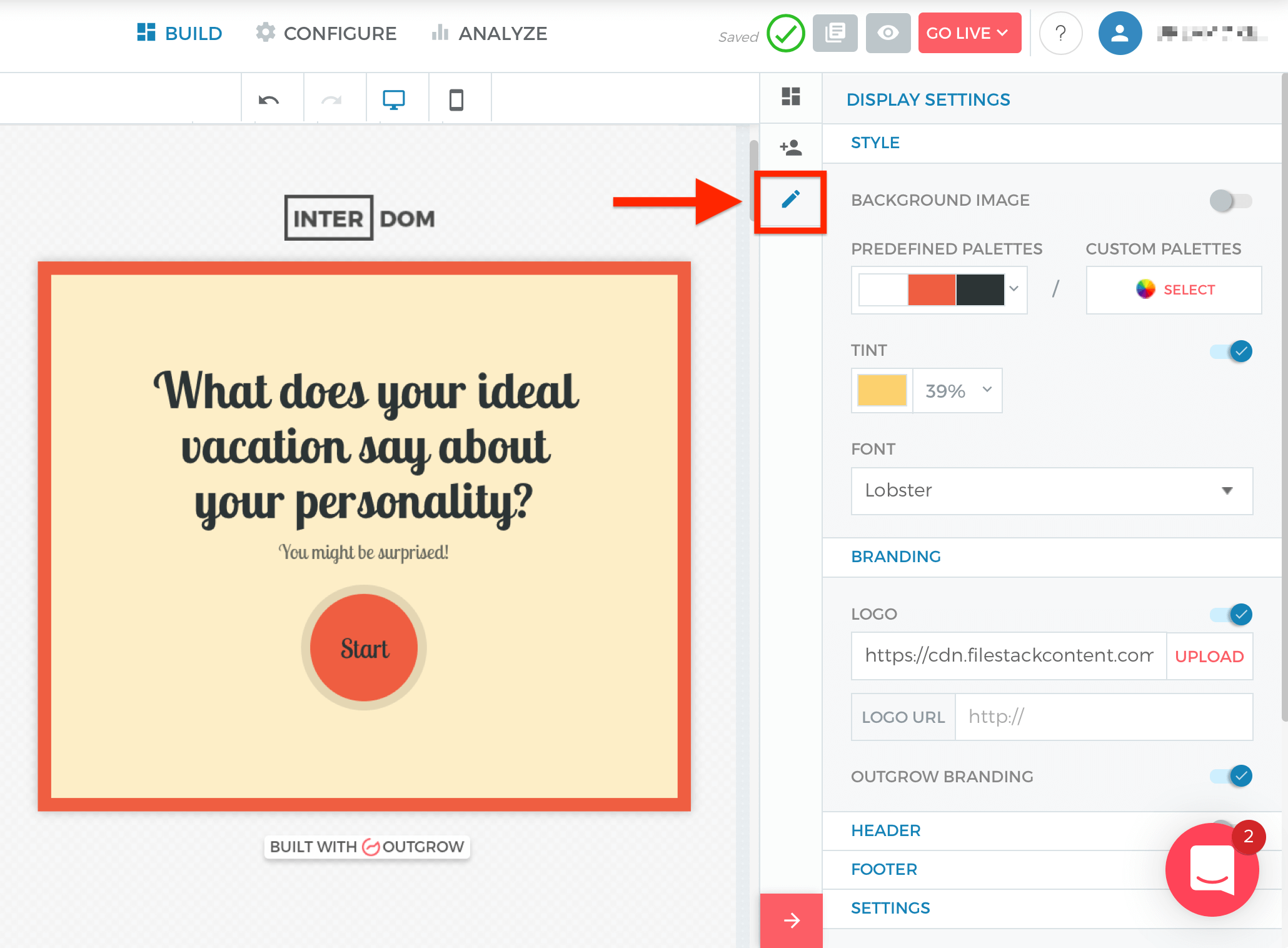Outgrow quiz color and background image settings.