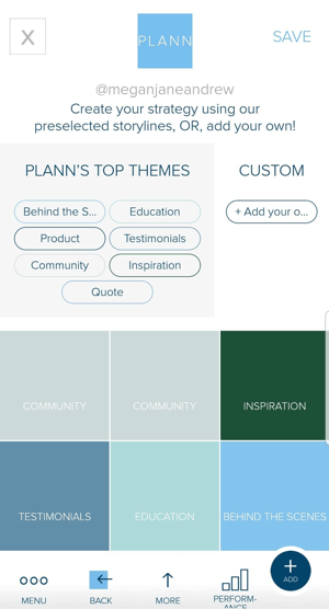 Use color coded placeholders in Plann to help plan your Instagram feed content.