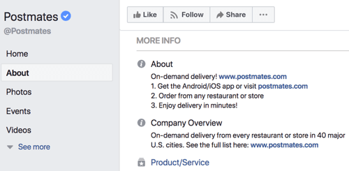 About section for the Postmates Facebook page.