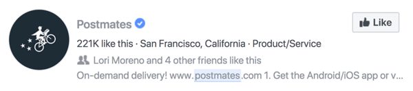 Postmates Facebook page search description on Facebook.