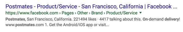將Facebook頁面發佈為Google搜索結果。
