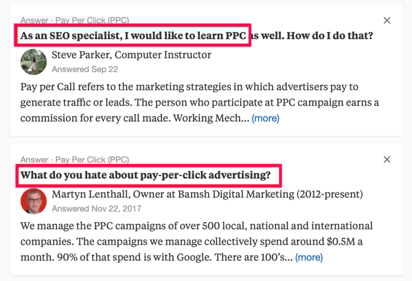 Example of two Quora search results including the search term 'PPC'.
