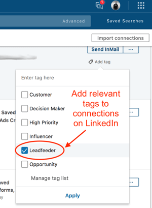 Contact tagging in LinkedIn Sales Navigator.