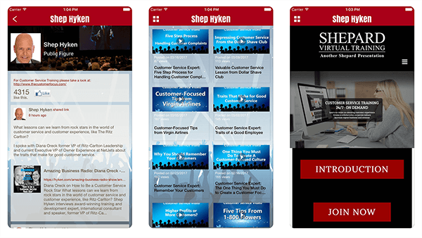 This is a screenshot of preview images from Shep Hyken's app. The first screen highlights new content from his blog. The second screen lets users browse all this videos. The third screen promoted a virtual training product.