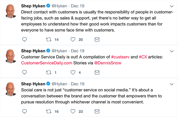 This is a screenshot of three tweets Shep Hyken made about customer service.