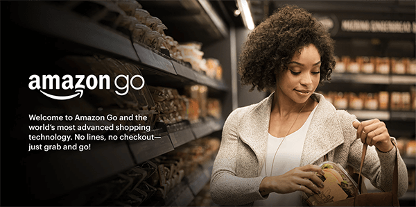 "This is a screenshot of a web page that promotes Amazon Go. A black woman is putting an item she took off a shelf into her purse. The text says ""Welcome to Amazon Go and the world's most advanced shopping technology. No lines, no checkout. Just grab and go!"" Shep Hyken says Amazon Go is an example of creating a self-service option to provide convenience to customers."