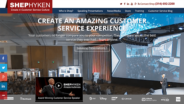 "This is a screenshot of Shep Hyken's website. In the background, he's speaking to a large crowd in front of a projection screen. The website text says ""Create an amazing customer service experience. Your customers no longer compare you to their competitor. They compare you to the best service they ever had . . . from anyone."""