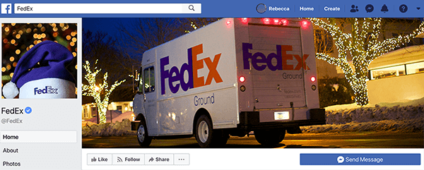 This is a screenshot of the FedEx Facebook page. For the holidays, the profile image is a purple Santa hat with FedEx printed on the white band. The cover photo is a FedEx truck driving by houses decorated with lights.
