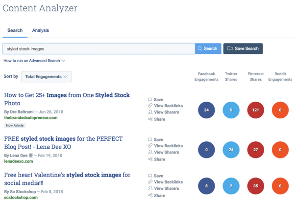 Article results for styled stock images in Buzzsumo.