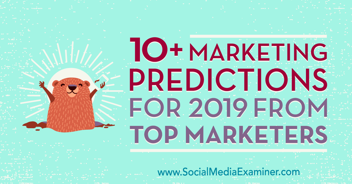 Best Marketers 2019 10+ Marketing Predictions for 2019 From Top Marketers : Social