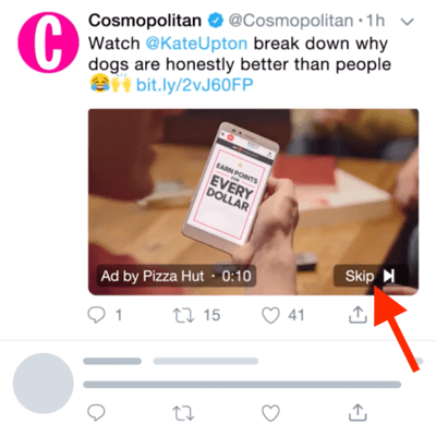 Example of a Twitter Video Ad with the option to skip the ad after 6 seconds.