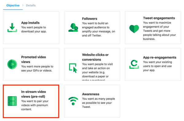 Option to create a In-Stream Video Views (Pre-Roll) Twitter ad from the Twitter Ads dashboard.