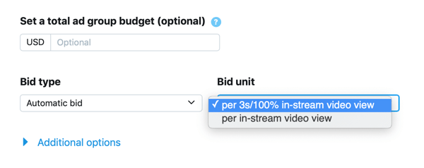 Option to set bid type and unit for your In-Stream Video Views (Pre-Roll) Twitter ad.