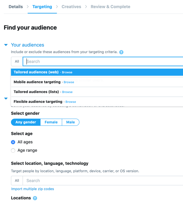 Option to set your audience for your In-Stream Video Views (Pre-Roll) Twitter ad.
