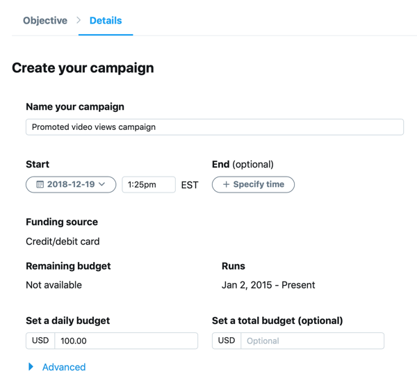 Example of campaign settings for your Promoted Video Views Twitter ad.